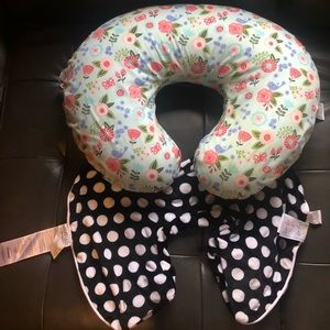 Boppy pillow and 2 slip covers